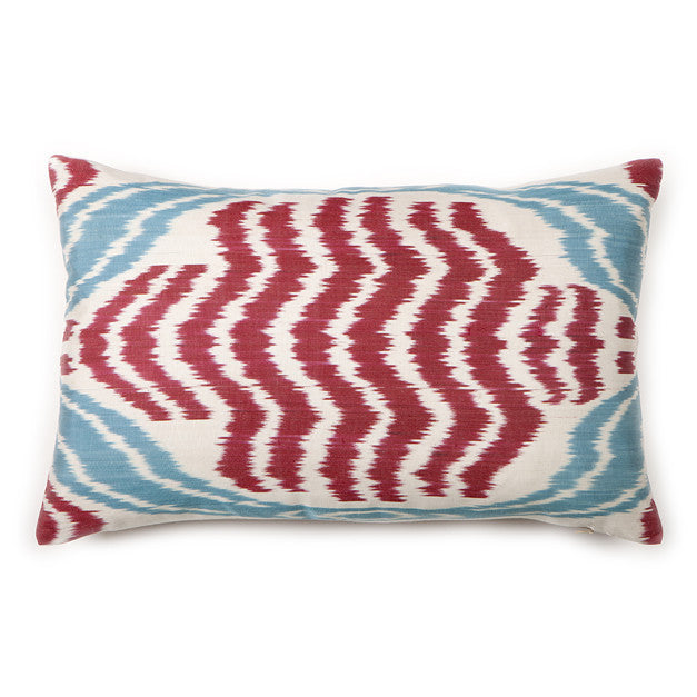 Red & Aqua Waves Ikat Silk Pillow