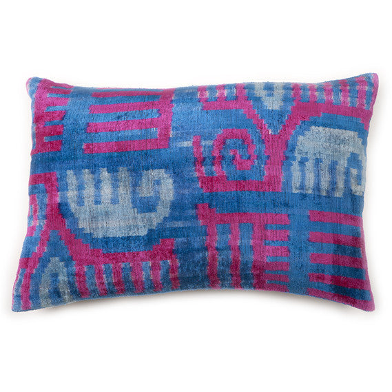 Velvet Silk Elephant Ikat Pillow
