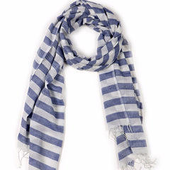 Mulmul Light Cotton Striped Scarf Navy