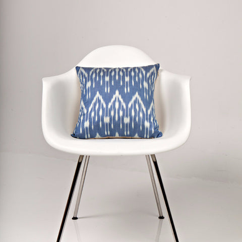 Blue Rain Drops Ikat Silk Pillow Cover