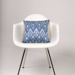 Blue Rain Drops Ikat Silk Pillow