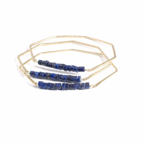 Geometric Gemstone Bangle Indigo