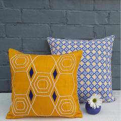 Yellow Hexagon Peace Silk Pillow