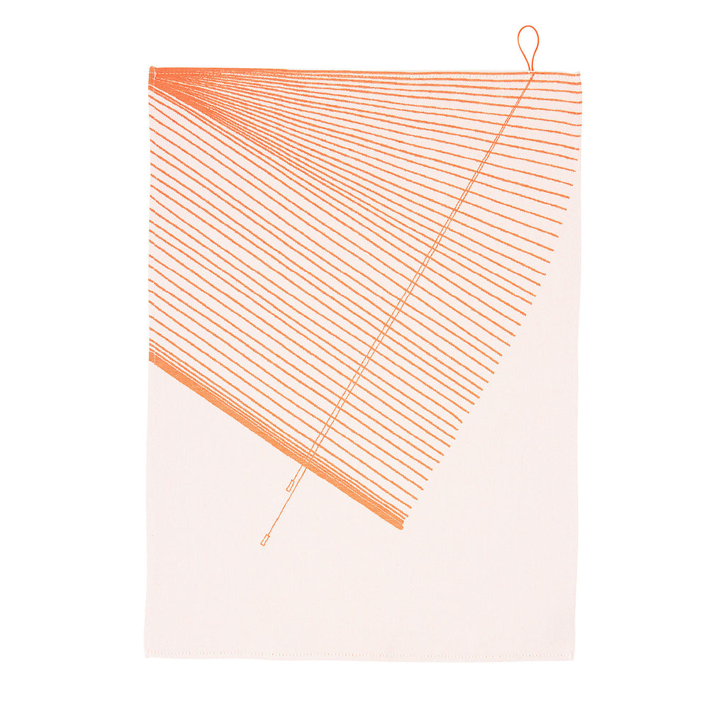 Hangin' Around Striped Tea Towel Orange