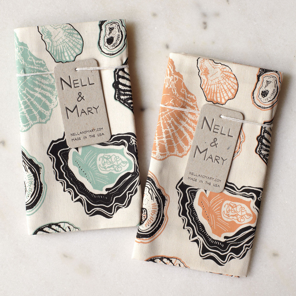 Oyster Tea Towel Mint Apricot