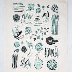 Fresh Vegetables Tea Towel Mint
