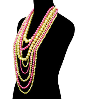 Pink & Green XL Necklace Set - The Jewelry Lady - 2