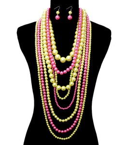 Pink & Green XL Necklace Set - The Jewelry Lady - 1