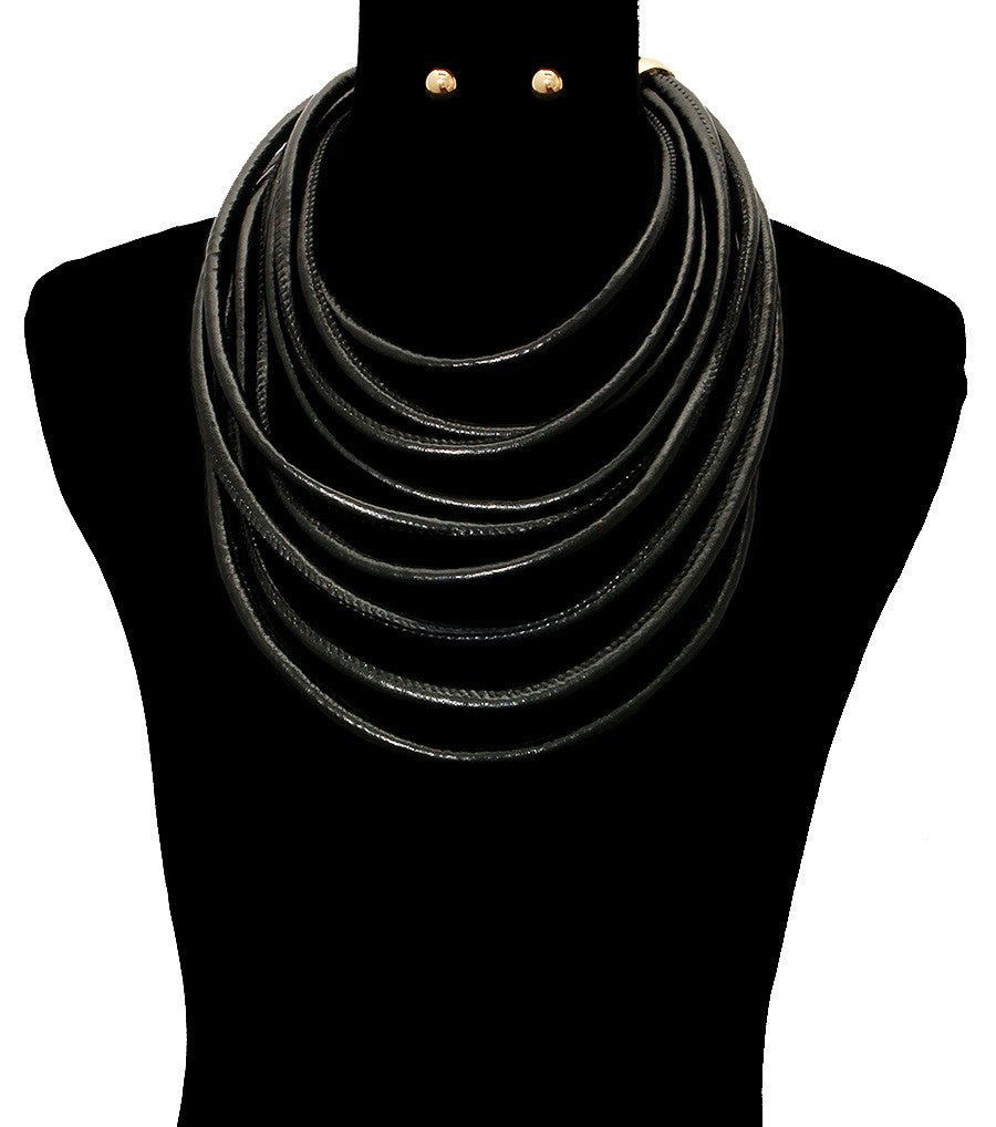 Black Cord Necklace Set - The Jewelry Lady - 1