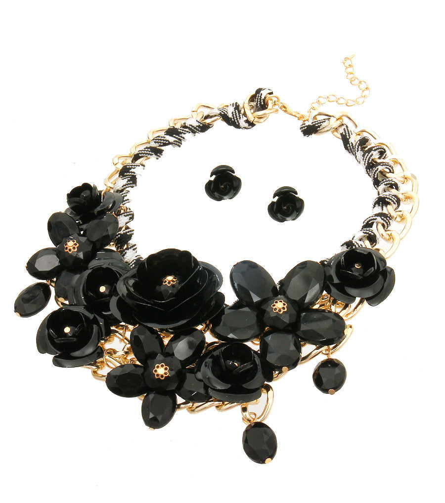 Rose Statement Necklace - The Jewelry Lady - 4