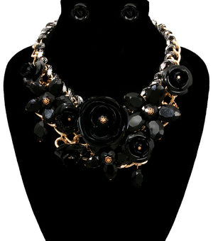 Rose Statement Necklace - The Jewelry Lady - 3