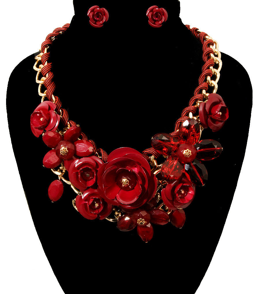 Rose Statement Necklace - The Jewelry Lady - 28