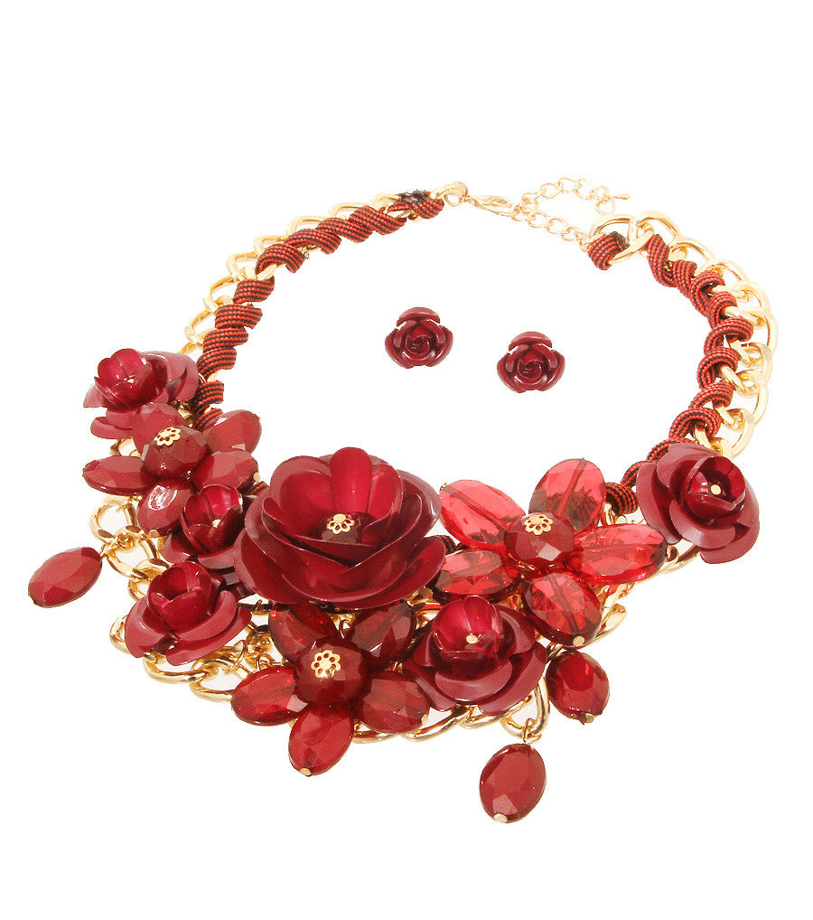 Rose Statement Necklace - The Jewelry Lady - 7