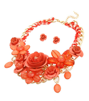Rose Statement Necklace - The Jewelry Lady - 9