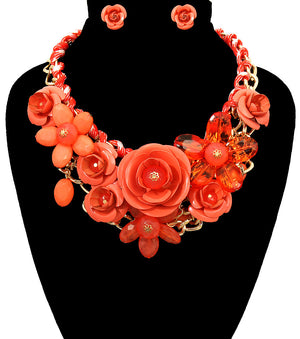 Rose Statement Necklace - The Jewelry Lady - 8