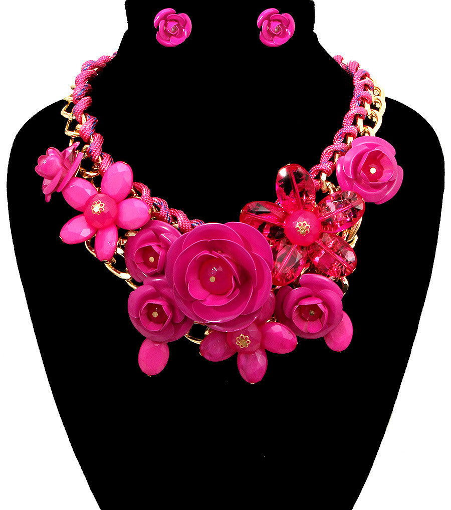 Rose Statement Necklace - The Jewelry Lady - 26