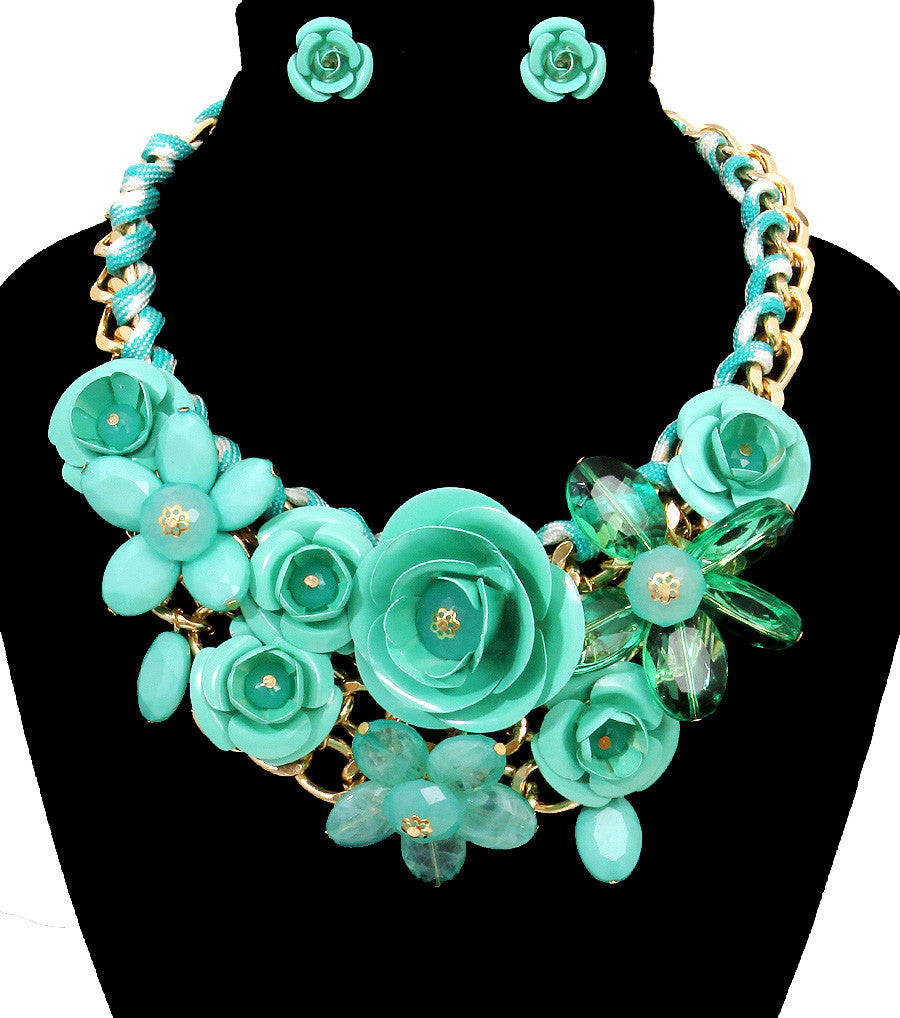 Rose Statement Necklace - The Jewelry Lady - 1