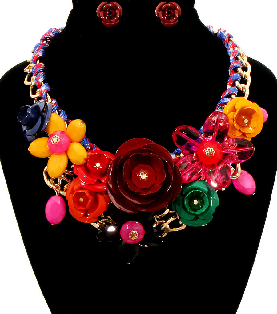 Rose Statement Necklace - The Jewelry Lady - 12