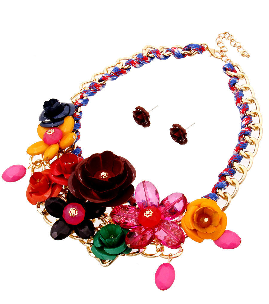 Rose Statement Necklace - The Jewelry Lady - 13