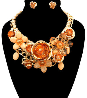 Rose Statement Necklace - The Jewelry Lady - 14