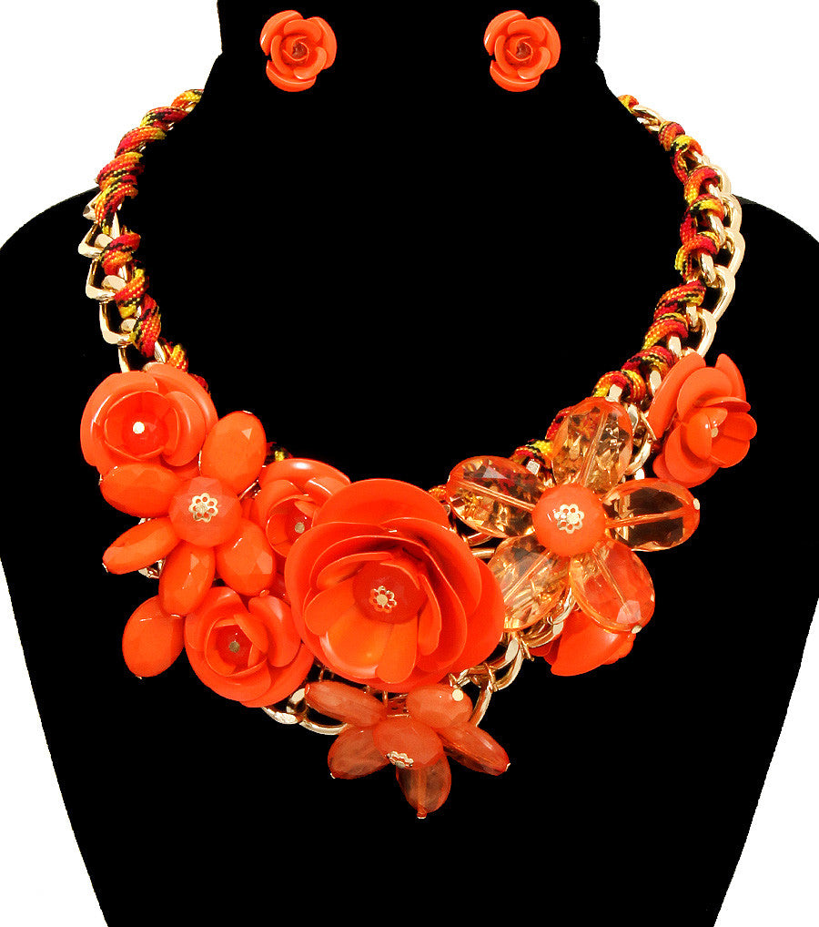 Rose Statement Necklace - The Jewelry Lady - 16