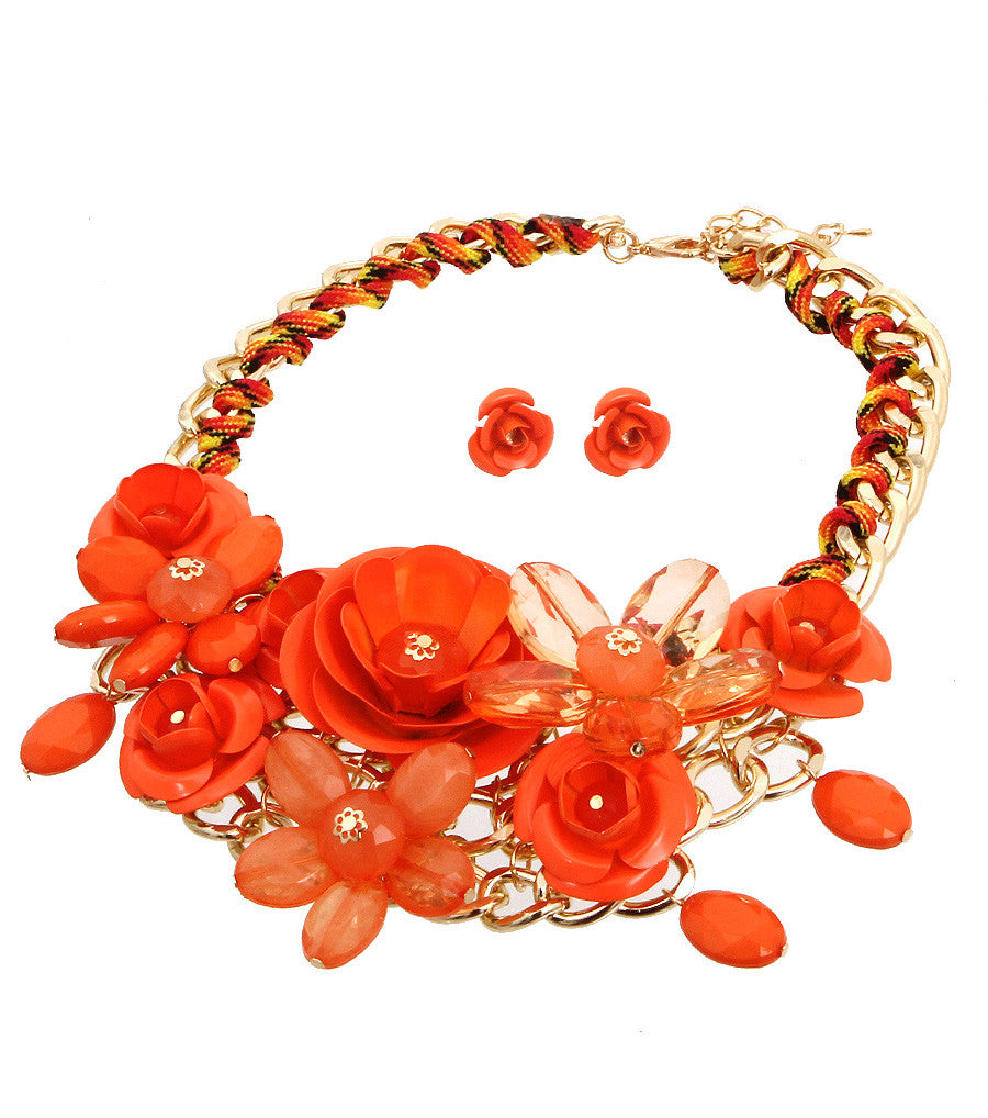 Rose Statement Necklace - The Jewelry Lady - 17