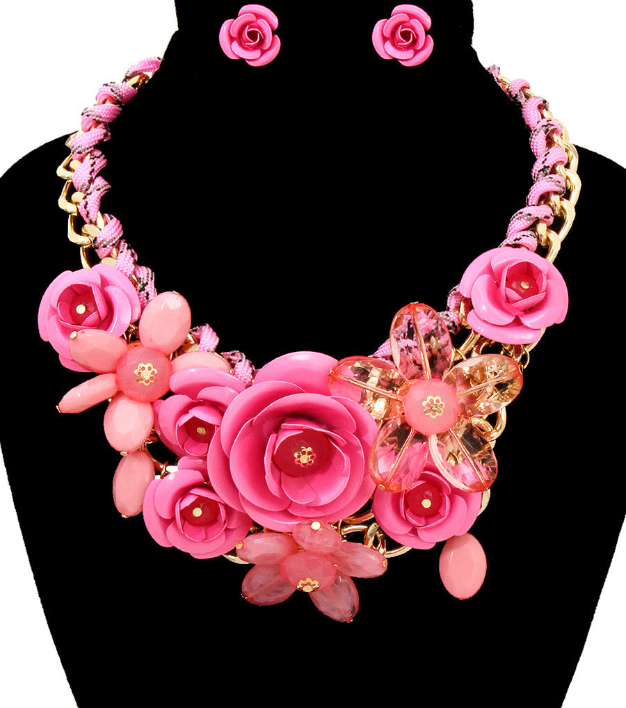 Rose Statement Necklace - The Jewelry Lady - 18