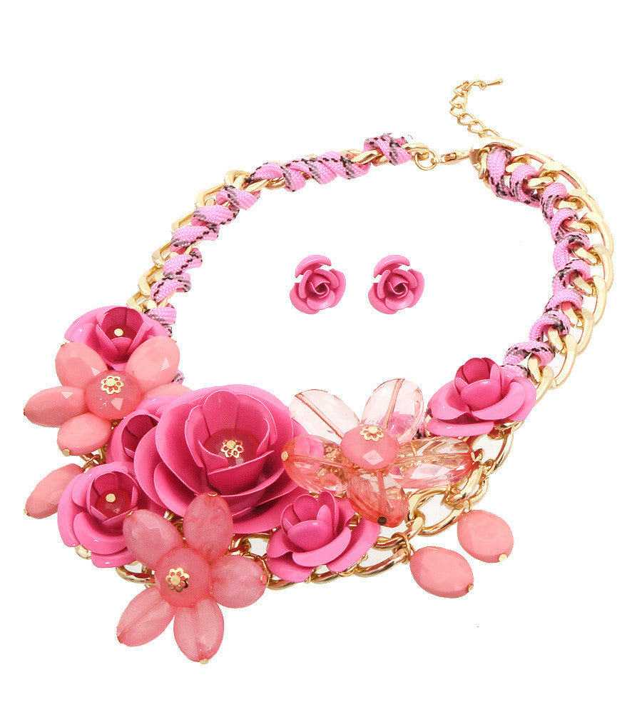 Rose Statement Necklace - The Jewelry Lady - 19