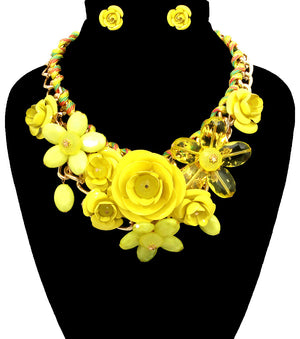 Rose Statement Necklace - The Jewelry Lady - 24