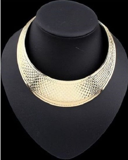 Gold Bib Choker Necklace - The Jewelry Lady - 1