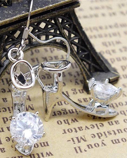 Sterling Silver High Heel Peep Toe Shoe Earrings - The Jewelry Lady