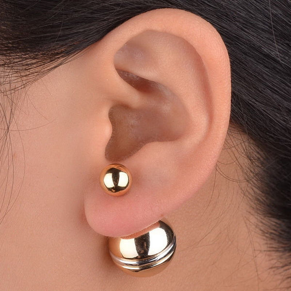 Two Tone Double Pearl Earrings