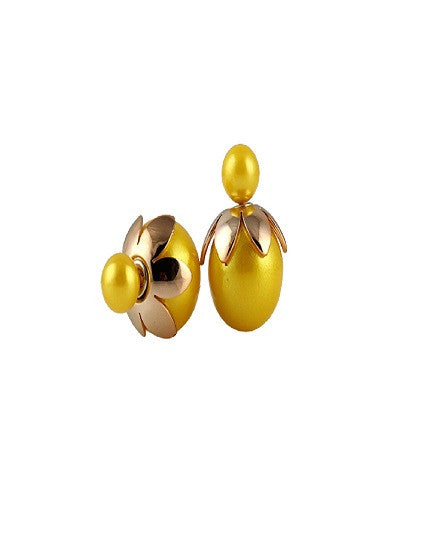 Flower Petal Double Pearl Earrings - The Jewelry Lady - 3