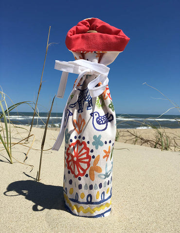 Wine Bottle bag-Foxy daisy