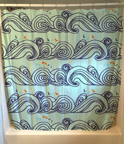 Fresh Aqua Wave Shower Curtain
