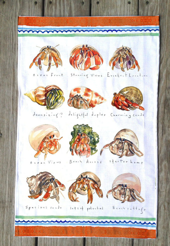 Hermit Crab Real Estate T Towels