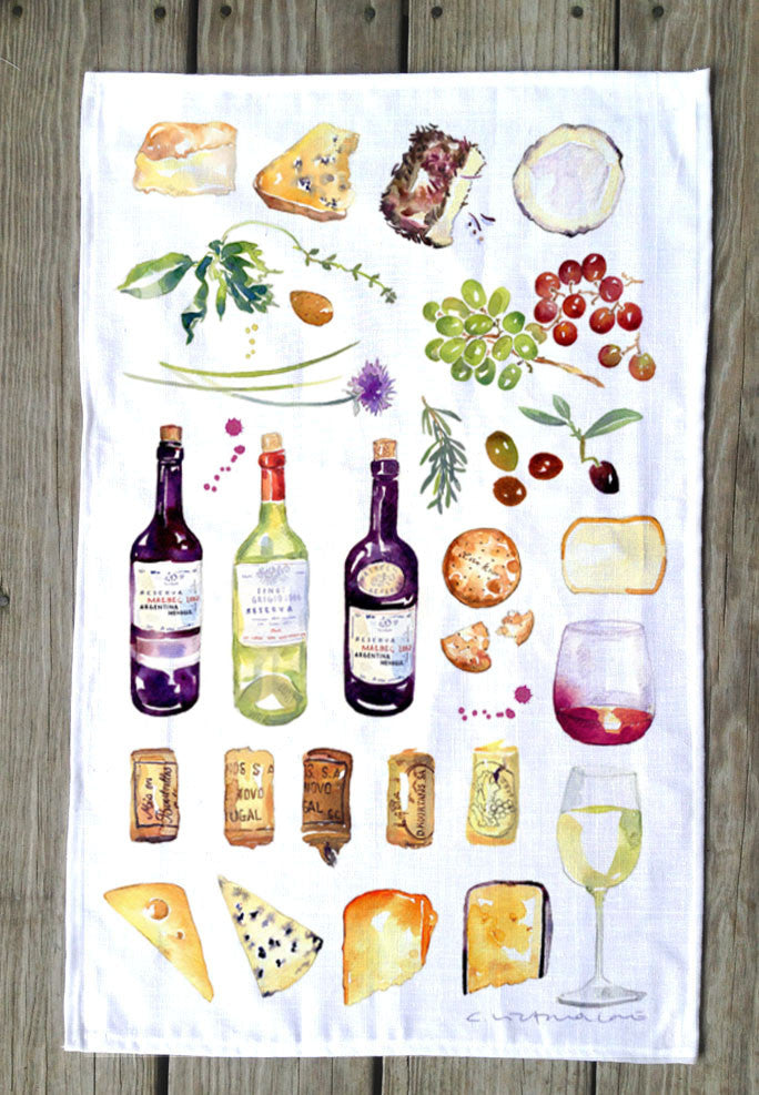 Wine & Cheese T Towel
