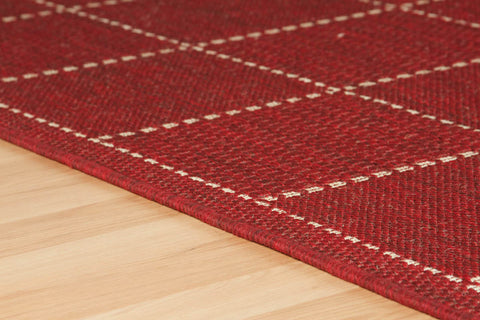 Checked Flatweave Red Runner