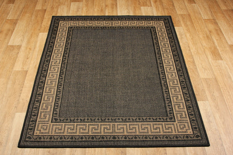 Greek Key Flatweave Black Runner