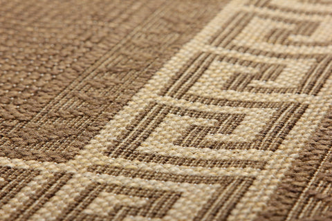 Greek Key Flatweave Brown