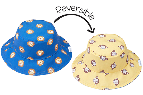 Reversible Baby Sun Hat – Lion | Monkey