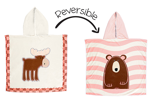 Reversible Kids Cover Up – Pink Moose | Brown Bear