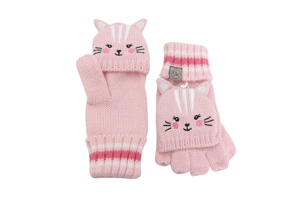 ***PRE-ORDER*** Kids Knitted Fingerless Gloves with Mitten Flaps - Cat