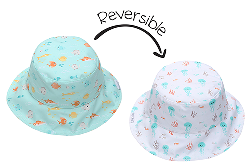 Reversible Baby & Kids Patterned Sun Hat - Fish | Jellyfish