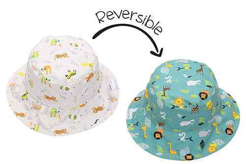 Reversible Baby & Kids Patterned Sun Hat - Grey Zoo
