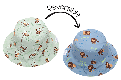 Reversible Baby & Kids Patterned Sun Hat - Lion | Monkey