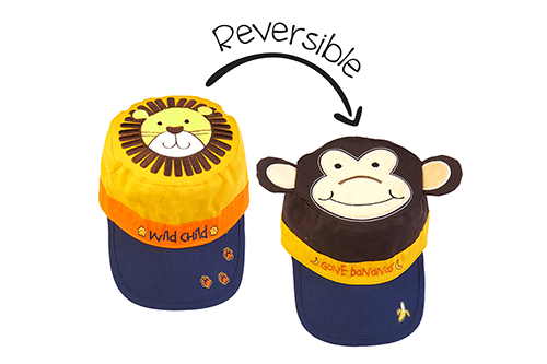Reversible Kids Cap - Lion / Monkey