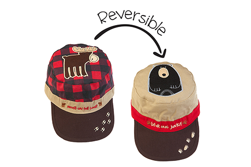 Reversible Kids Cap - Red Moose / Black Bear