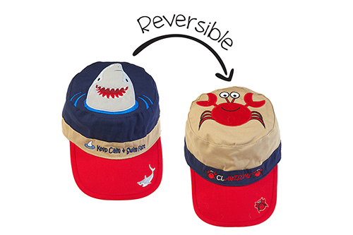 Reversible Kids Cap - Shark / Crab