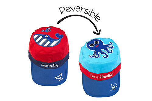 Reversible Kids Cap - Whale / Blue Octopus